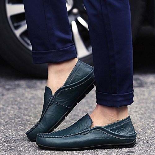 LILY999 Men's Casual Loafers Flat Fashion Slip On Driving Shoes Hand Stitching Non-Slip Boat Shoes Black Blue Brown Dark Blue EooMmQZB90