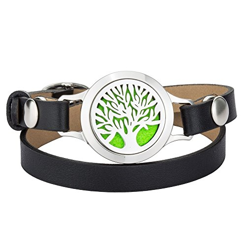 Tree of life Essential Oil Bracelet - Stainless Steel Aromatherapy Diffuser Locket Bangle Leather Wristband for Girl, Boy with 8 Color Washable Cotton Pads and Gift Box By Jenia by Jenia