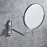 AGAOLIGUO Wall-mounted hotel bathroom vanity mirror creative folding double-sided rotating bathroom mirror Polished Chrome Finish Makeup Mirror,silver_6inch