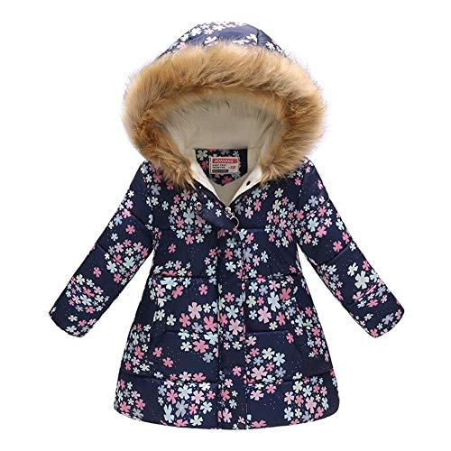 f04f51860b98 Miss Bei Girl s Kids Toddler Winter Flower Print Parka Outwear Warm Cotton Coat  Hooded Jacket Purplish Blue snow140