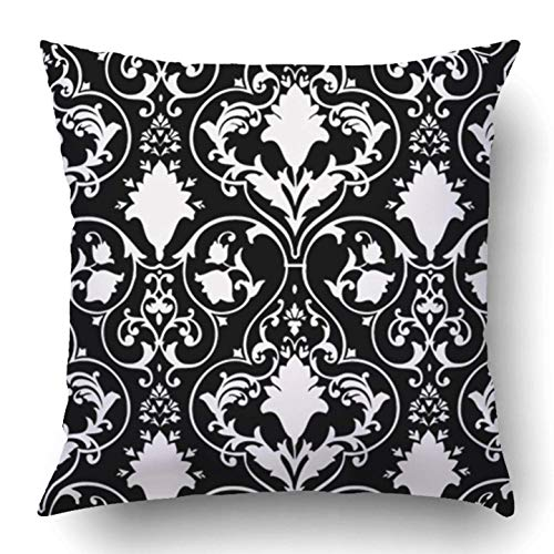 qingqing-us Throw Pillow Covers Black Fleur Antique Scroll White Lis LYS Damask Victorian Baroque Abstract Rococo Polyester 18 X 18 inch Square Hidden Zipper Decorative Pillowcase