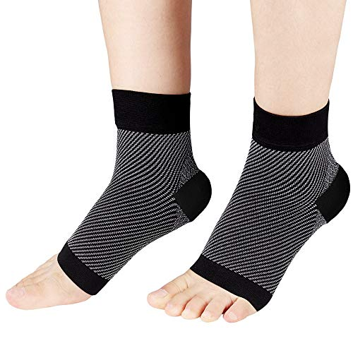 Plantar Fasciitis Socks, High Arch Support Foot Compression Sleeves for Men & Women, Ankle Support Socks for Foot and Heel Pain Relief, Reduce Foot Swelling and Arch Pain(Large) (Black ash, Large)