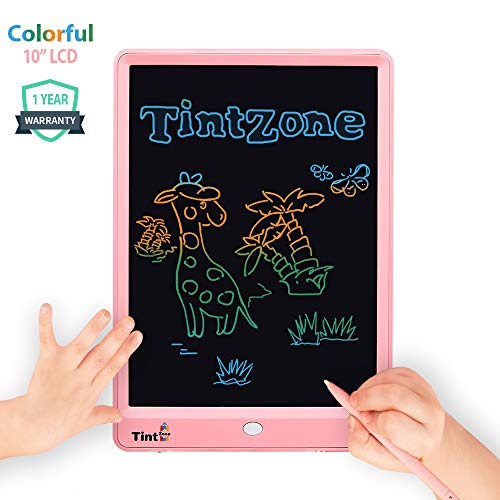 LCD Writing Tablet, 10 Inch Colorful Screen Electronic Writing Board, Doodle Pads Drawing Board Premium Gifts for Kids, Memory Lock Erase Button for Home School Office (Pink)
