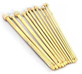 HI-BOOM 12 Sizes Tunisian Afghan Bamboo Crochet Hook Knitting Needles 3.0-10.0mm