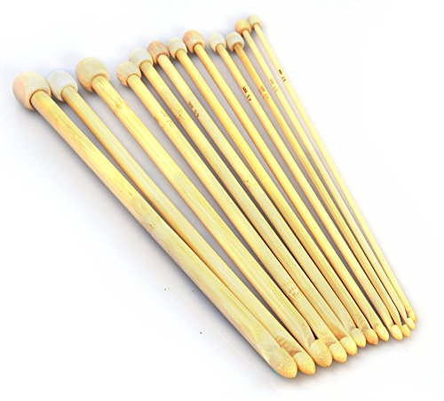 HI-BOOM 12 Sizes Tunisian Afghan Bamboo Crochet Hook Knitting Needles 3.0-10.0mm by HI-BOOM