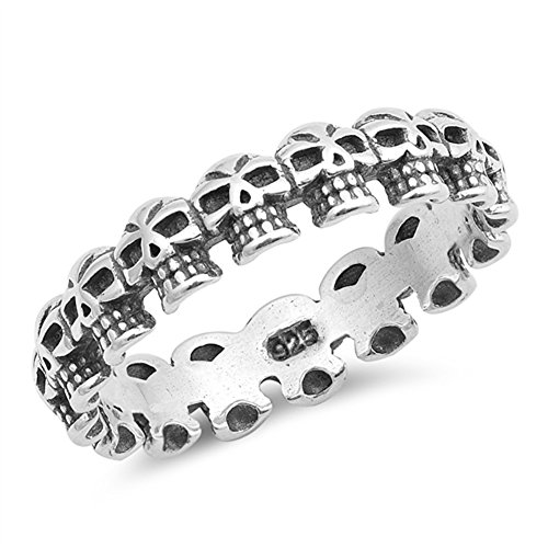 (Oxidized Skull Eternity Stackable Biker Ring 925 Sterling Silver Band Size 8)