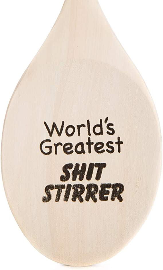World/'s Greatest Shit Stirrer Engraved Wooden Mixing Spoon - Kitchen Gift 12 inches - AS2019-A72421H-LAVANDERIA-HANDLE