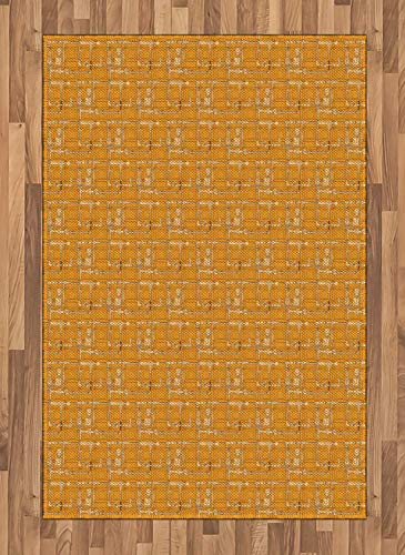 Steam Punk Area Rugs 2.6'x5'ft,Hand Drawn Tubes and Pipes with Meters and Mechanical Items Rubber Backing Floor Carpet Throw Rug Runners for Bedroom Living Room, Marigold Pale Peach Chocolate