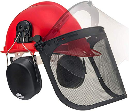 NoCry 6-in-1 Industrial Forestry Safety Helmet and Hearing Protection System with Two Protective Visors