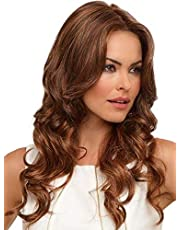 SIYAN Naturally Ombre Golden Brown Wavy Wigs, Middle Score Brown Long Curly Woman Hair Wigs High Temperature Resistant False Headgear Dialy Use (26 Inches)