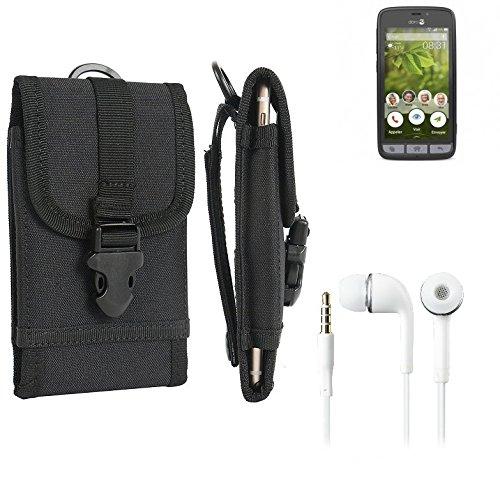 bolsa del cinturón / funda para doro 8031, negro + Auriculares | caja del teléfono cubierta protectora bolso - K-S-Trade (TM)