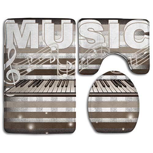 Piano Art Picture Bathroom Rug Sets 3 Piece Non-Slip Floor Mat Contour Rug Toilet Lip Cover