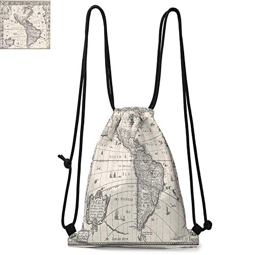 Wanderlust Decor Made of polyester fabric Image of Antique Map America in 1600s World in Medieval Time Ancient Era Waterproof drawstring backpack W17.3 x L13.4 Inch Multi