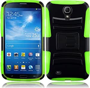 For Samsung Galaxy Mega 6.3 Black/Neon Green Side Stand Impact Hybrid Fusion Tuff Kickstand Double Layer Cover Case
