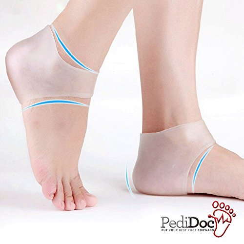 Plantar Fasciitis Silicone Heel Sock, Moisturizing Compression Sleeve Cushion; Pedidoc™ Best Foot Pad; Ease Swelling, Sore Feet, Spurs & Cracked Heels, Pain Relief Gel Protector, Increase Circulation