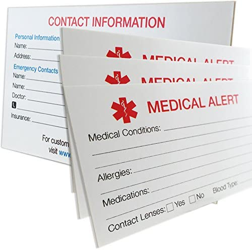 My Identity Doctor – 25 MyIDCards Medical Alert ID Card Thick 400lb Card Stock – Made in USA