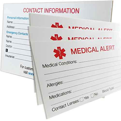 MyIDDr - 3 MyIDCards Medical Alert ID Thick 400lb Card Stock Made in (Medical Id Wallet Card)