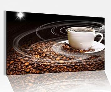 Amazon.de: Acrylglasbild 80x50cm Kaffee Tasse Coffee Bohnen Küche ...