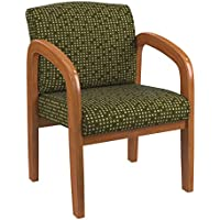 Office Star Padded Fabric Seat and Back Visitors Chair with Medium Oak Finish Frame, Herb