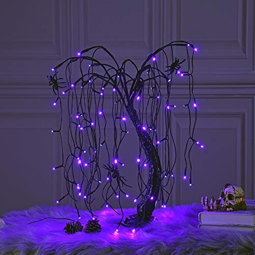 Baby Willow Halloween (LIGHTSHARE 24-inch Halloween Willow Tree LED Spooky Bonsai Night Light,80 LED Lights, Battery Powered or DC Adapter(Included) for Home, Festival,Nativity, Party, and Christmas Witch)