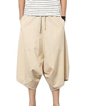 Pantalones Anchos Hombre Pantalones Cortos Bermudas Pantalones Hippies Transpirable Pantalones De Lino Café 2XL YaIOzaP