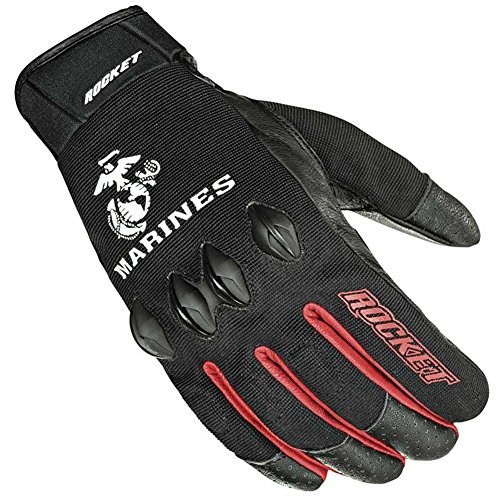 Marine Corps Motorcycle - Joe Rocket Marines Stryker Mens Black Mesh Motorcycle Gloves - Large