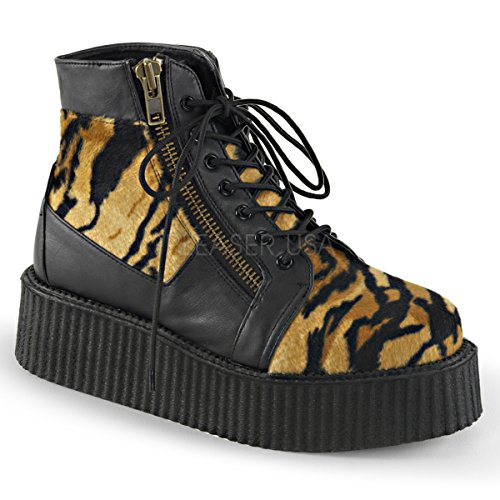 V-CREEPER-571 Blk Vegan Leather -Tiger Print Faux Fur Size UK 4 EU 37