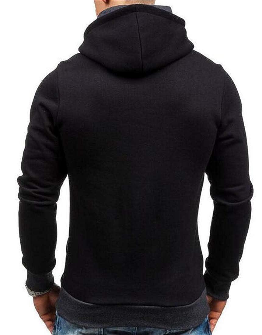 Hajotrawa Mens Top Hooded Pullover Oblique Zipper Stylish Sweatshirts