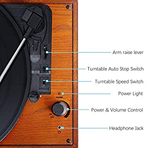 Record Player, 3-Speed Vintage Portable Suitcase Turntable with Built-in Stereo Speakers, Headphone Jack, PC Recorder, RCA Line out, Wooden