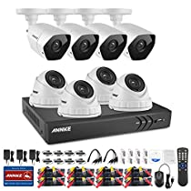ANNKE 8-Channel Security Camera System and (8) 3.0Megapixel Weatherproof Cameras(4 Bullets+4 Domes), QR Code Scan, Easy Remote View and Email Alerts, NO HDD
