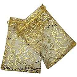 "Sosam 100PCS 5x7"" (13x18cm) Drawstring Organza Jewelry Favor Pouches Wedding Party Festival Gift Bags Candy Bags (5x7"", Gold with Print)"