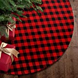 yuboo Red and Black Plaid Buffalo and Burlap Lining Christmas Tree Skirt,50 Inches Checked Tree Mat for Xmas Holiday Party Decorations