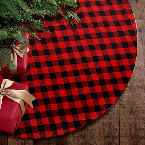 yuboo Plaid Buffalo& Burlap Christmas Tree Skirt,Red and Black Checked 50