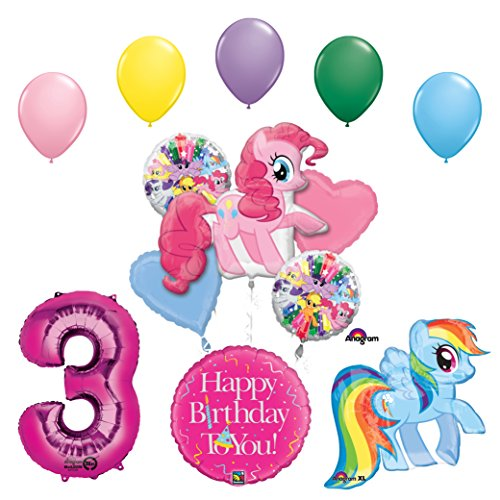 Price comparison product image My Little Pony Pinkie Pie and Rainbow Dash 3rd Birthday Party Supplies and Balloon Decorations