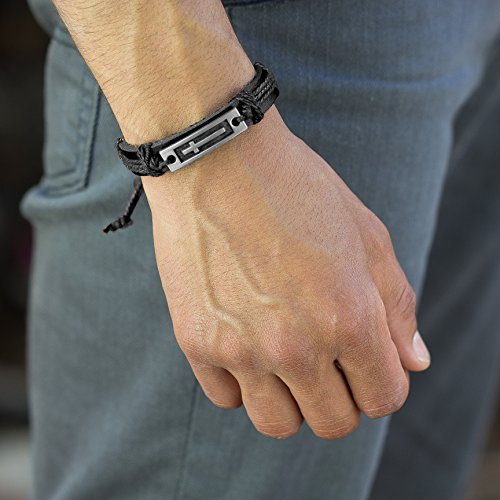 Cross Leather Bracelet for Men: Confirmation Gifts for Boys First Communion Religious Cross Statement (