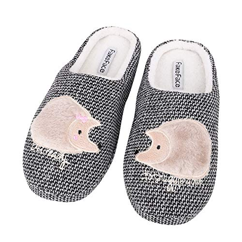 Shoes Hedgehog Womens Booties Indoor Non Soft Boots Plush Cozy Winter on Cartoon Home Slip Slip Slippers Black Warm Fleece Ankle fHnzZrfq