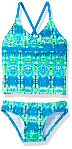 Kanu Surf Big Girls' Candy Beach Sport 2-Piece Tankini Swimsuit, Kayla Blue/Green Tie-Dye, 10
