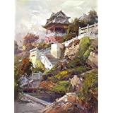 Oil Painting  the Landscape: The Temple  Printing On Perfect Effect Canvas , 24x32 Inch / 61x82 Cm ,the Best Game...