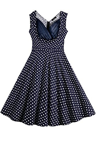 Creti Women's Vintage Polka Dot Sleeveless Spring Garden Swing Party Picinic Evening Dress Cocktail Dress (L) - Print Back Tie Baby Doll