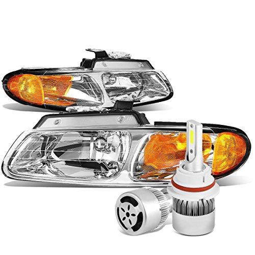 Dodge Caravan / Voyager Pair of Chrome Housing Amber Corner Headlight + 9007 LED Conversion Kit W/ Fan (Housing Headlight Voyager)