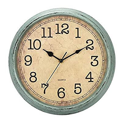 """HYLANDA 12 Inch Vintage/Retro Wall Clock, Silent Non-Ticking Quartz Decorative Wall Clocks Battery Operated with Large Numbers&HD Glass Easy to Read for Kitchen/Living Room/Bathroom/Bedroom/Office - 🕗 SUPERIOR SILENT MOVEMENT - Use silent non-ticking mechanism to guarantee true silence, quiet sweep second hand ensure a good sleeping and work environment. Precise quartz movements guarantee accurate time. 🕗 Large Numbers & Good View - 12"""" Round in shape, protected clear glass, large black numbers and brown dial face guarantee easy to read and good view. 🕗 DECORATIVE DESIGN - The Sturdy plastic frame and HD glass lens makes it easy to clean and keeps dust away from dial; Classical and Vintage design that is well suited for Kitchen/Living Room/Bedroom/Bathroom/Office. - wall-clocks, living-room-decor, living-room - 51sZulzIPuL. SS400  -"""