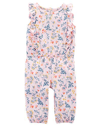 Carters Baby Girls Jumpsuits (Pink/Flowers, 3 Months) (Girls One Piece Jumpsuit)