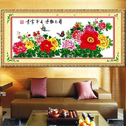 - Zamtac Embroidery Package 100% Precise Printing Cross Stitch Kits 11CT Flower Noble Essence Peony