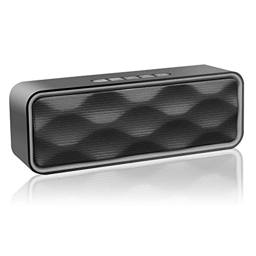 Portable Bluetooth Speakers V4.2 Wireless Stereo Speaker with HD Audio and Enhanced Bass,Built-In Dual Driver Speakerphone,Handsfree Calling,FM Radio and TF Card Slot
