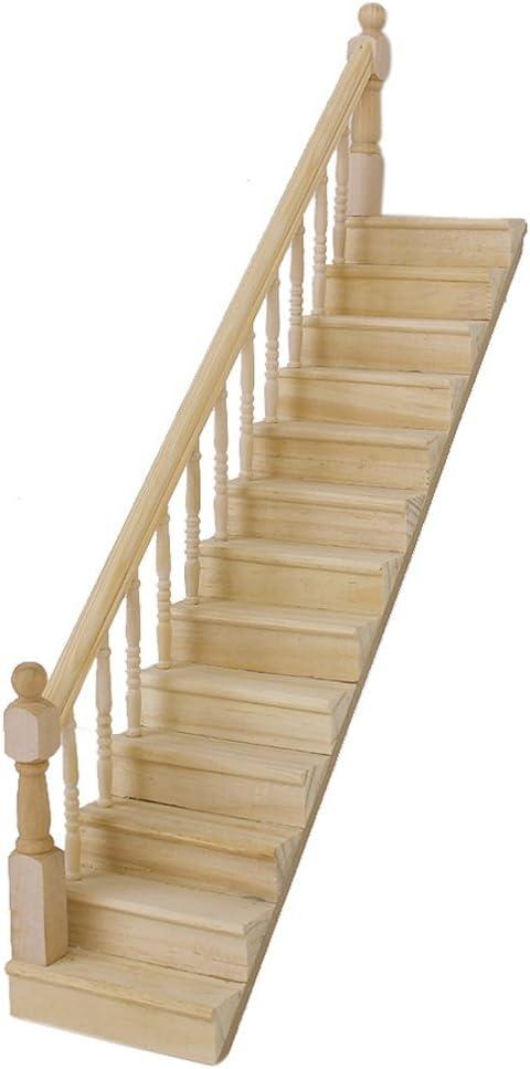 Doxmal - Escalera de madera para casa de muñecas (escala 1:12, con pasamanos derechos, premontada, accesorio para casa de muñecas de alta calidad: Amazon.es: Amazon.es