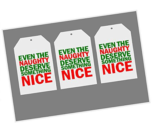 Christmas Holiday Green Red White Even the Naughty Deserve Something Nice Collection (Gift Tags)