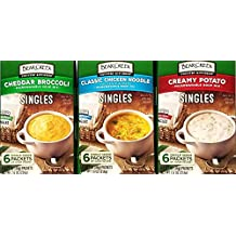 Cheddar Broccoli , Classic Chicken Noodle, Creamy Potato - Bear Creek Soups Single Serve Packets - Variety Pack of 3