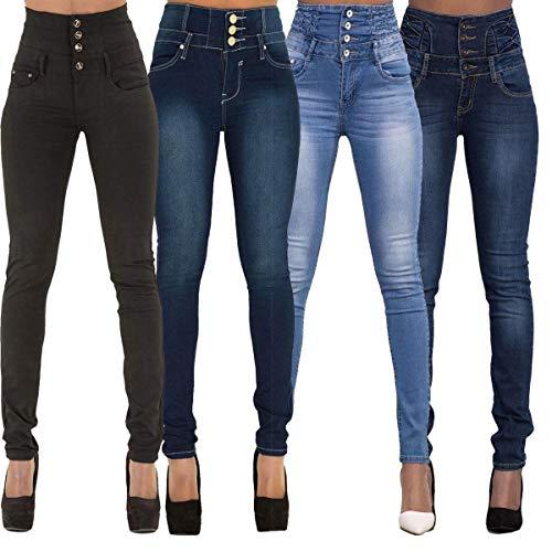 Pants Femme JackenLOVE Pantalons Longue Taille Jeans Bouton Skinny Noir avec Haute Crayon Mode Casual Denim Rpfq40g