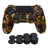 YoRHa Water Transfer Printing Camouflage Silicone Cover Skin Case for Sony PS4/slim/Pro controller x 1(orange) With Pro thumb grips x 8 Review