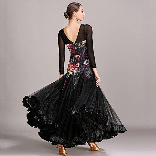Seta Femminile Dress m Abito Manica Q Filato Ballo Imitazione Sala stampa Net Pattern Cucitura black Velluto Lunga Performance jiu Da TwPqX